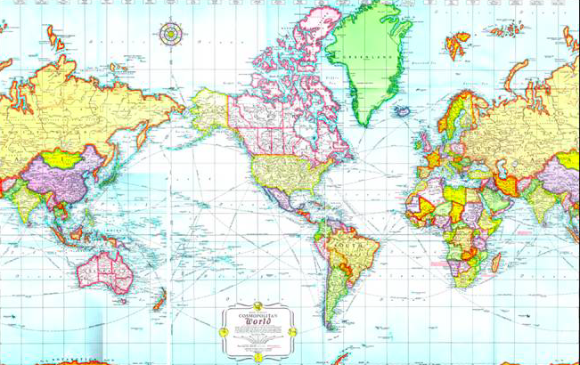 Beautiful Mercator Projection Map
